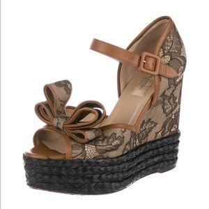 Valentino Garavani Shoes - NWT Valentino Lace Bow Wedges Size 36 $798